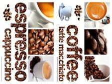 COFFEE 13 WALL DECALS Espresso Beans Room Decor Stickers Cappuccino Latte Cup