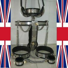 Full Male Chastity Belt Device cage thigh bands collar, anklets & bra 65-110cms