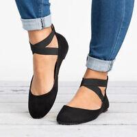 Womens Ankle Strap Ballerina Ladies Flats Court Pumps Summer Comfy Shoes Size