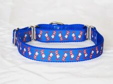 """1"""" Small (Whippet) Martingale Dog Collar Cat in the Hat-Ribbon on Nylon Webbing"""