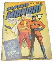 Captain Midnight # 1  Fawcett 1942 Radio/Movie Star - Shazam/Capt. Marvel Cover