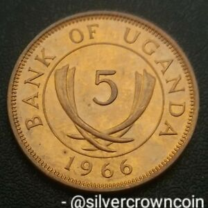 Uganda 5 Cents 1966. KM#1. Five Pence coin. First year issue. Crossed Tusks.