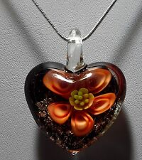 Murano Glass Red & Gold Flower Heart Pendant on 925 Silver Necklace #Valentine