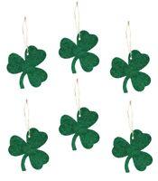 Bethany Lowe St Patrick's Day Shamrock Tin Green Ornaments Set/6 Decorations