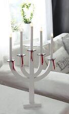 Star TrandingWood 5-Light Ellie Candlestick, White/ Red Ribbons