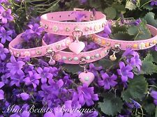Handmade Baby Pink Swarovski Crystal Leather Occasion Buckle Floral Dog Collar