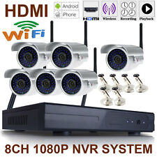 6PCS 720P WiFI Network IP Camera ONVIF P2P 8CH HDMI NVR Security System Silver