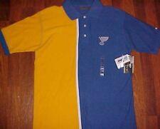 St. Louis Blues Hockey Team Logo NHL Blue Yellow Polo Shirt Medium New
