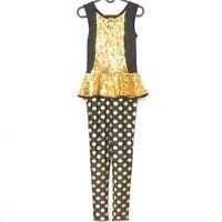 Weissman Gold Digger Unitard Dance Costume L Child Sequin Black Polka Dot 9724