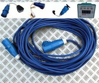 25m HEAVY DUTY MAINS HOOKUP LEAD AND ADAPTER KIT CARAVAN MOTORHOME BOAT HOOK UP