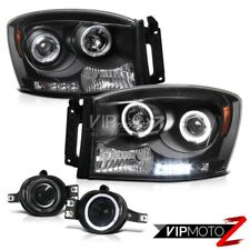 Black Halo Rim LED Headlight Projector Bumper Fog Light Lamp Dodge Ram 2006-2008