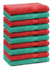 Betz 10 Toallas de cara 30x30cm PREMIUM 100% algodón de colores esmeralda y rojo