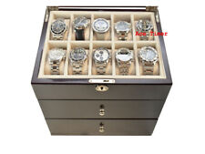 30 watch Glass Top High Gloss Ebony II Display Storage Case Box + Polish Cloth