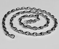 "10k Solid White Gold Handmade LINK Chain/Necklace 22"" 62 grams 4.75MM"