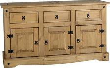 Corona 3 Door 3 Drawer Sideboard In Distressed Waxed Pine