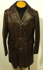 vintage 1970's men's leather jacket coat fight club rocker pimp size 42