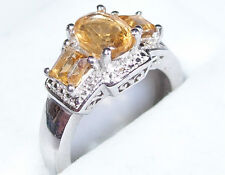 3-Stone Citrine ring (1.800ct) in platinum bond, Size N.