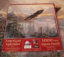 Rare SunsOut Puzzle AMERICAN SPLENDOR Eagle Flag Patriotic 1000 pcs Complete