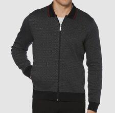$199 New Perry Ellis Men's Printed Jacquard Full-Zip Sweater Black Size M