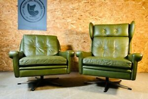 VINTAGE DANISH MID CENTURY OLIVE GREEN LEATHER LOUNGE CHAIRS by SVEND SKIPPER
