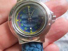 Interesting Blue Man's Quartz 'Compass' Wristwatch.