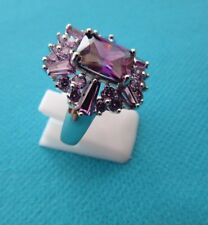 925 Sterling Silver Cocktail Ring With Purple Amethyst UK N 1/2 US 7 (rg2263)