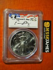 1993 $1 AMERICAN SILVER EAGLE PCGS MS69 EDMUND MOY HAND SIGNED FLAG LABEL