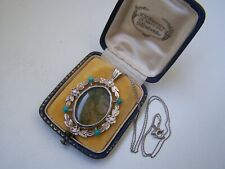 "GORGEOUS VINTAGE SOLID STERLING SILVER MOSS AGATE TURQUOISE PENDANT 16"" NECKLACE"