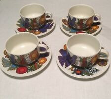 "Lot 4 Villeroy & Boch Tea Cups and Saucers ACAPULCO Milano Shape 3 1/2"" X 2 1/4"""