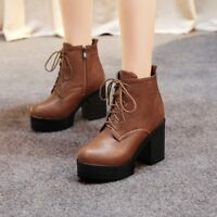 Womens Block High Heels Platform Lace Up Ankle Boots Lace Up Round Toe Shoes Sz