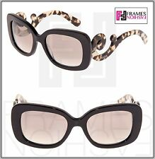 PRADA Minimal Baroque Swirl Brown Square Silver Mirrored Sunglasses PR27OS 27O