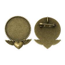 Broche pendentif trouver, cabochon, résine de base, setting-pack de 2
