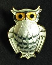 Vintage David Anderson Norway Sterling Silver .925 Vermeil Owl Brooch Near Mint