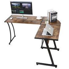 L Shaped Brown Desk Corner Computer Gaming Laptop Table Workstation Home Indoor