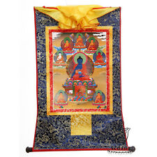 "32"" Tibetan Buddhist Thangka Deity 8 Medicine Buddha Silk Brocade Wood Scroll"