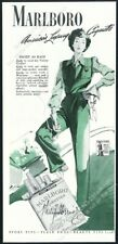 1943 Marlboro cigarettes smoking woman in green vintage print ad