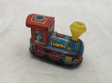 Free SHIP - Vintage Tin Litho Wind up Steam Train Engine - Works!  Made in Japan