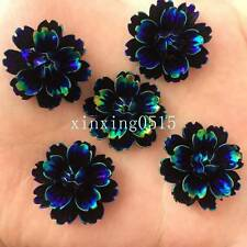 Black DIY 6pcs 25mm AB Resin 3d flower Flatback Rhinestone Wedding button crafts