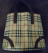 Authentic Special Edition Burberry Haymarket Check Medium Tote. Beige/brown/red