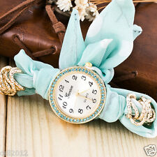 Fashion Women's Girls Fabric Band Analog Quartz Bracelet Wrap Wrist Watch Gift