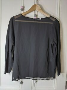 Mint Velvet sheer top Size 12 black cotton jersey long sleeves soft comfortable