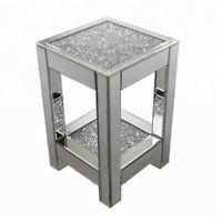 56cm Mirrored Crushed Diamond Crystal Two Tier Side End Table Stand Mirror