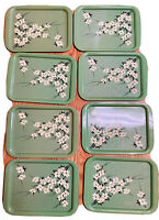 8-VINTAGE METAL GREEN W/WHITE FLOWERS SERVING lap /TV TRAYS_EXCELLENT CONDITION