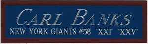 CARL BANKS GIANTS NAMEPLATE FOR AUTOGRAPHED Signed Football HELMET JERSEY PHOTO