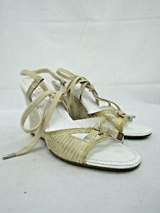 Tod's Wedge Open Toed Sandals Laced Straps / Gold Specked Leather Sz: 8