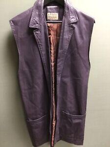 Vintage Betty Jackson Quorum Purple Leather Waistcoat UK 14