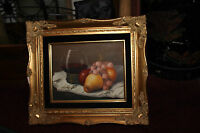 Still Life Oil Painting On Canvas Signed G Trani Wine Glass Fruit Grapes