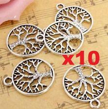 10PCs Vintage Tibetan Silver Tree of Life Circle Charms DIY Pendants Jewelry ♫