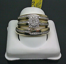 10K Yellow Gold His Her Matching Wedding Band Engagement Ring Real Diamond