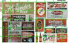 NH010 DAVE'S DECAL 1/2 Set N SCALE GHOST SIGNS SODA POPS GAS/OIL BEER DRY GOODS